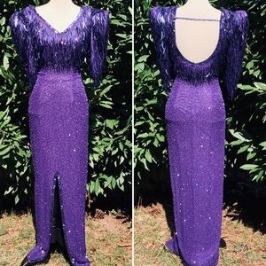 Vintage 80's Royal Purple Sequined Beaded Gown (4)